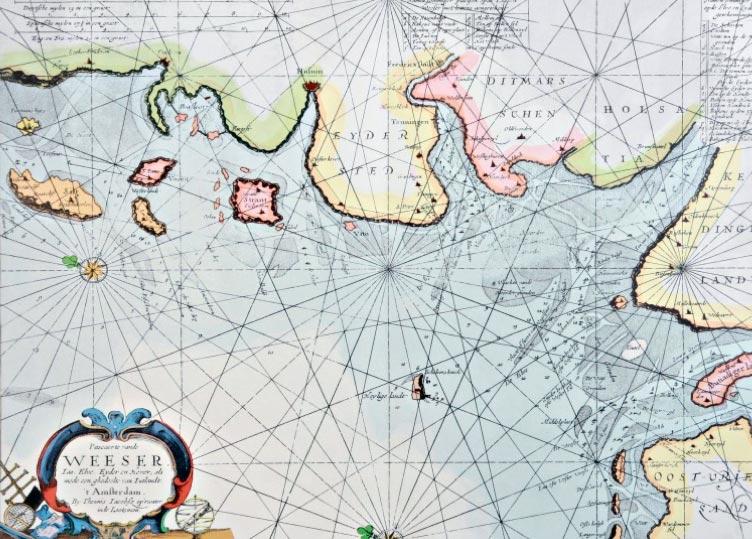 Seekarte von 1652 mit der Insel Helgoland. Grafik: Förderverein Museum Helgoland